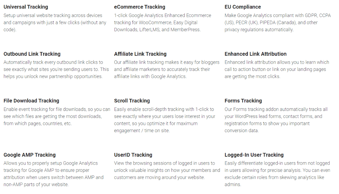 MonsterInsights features list