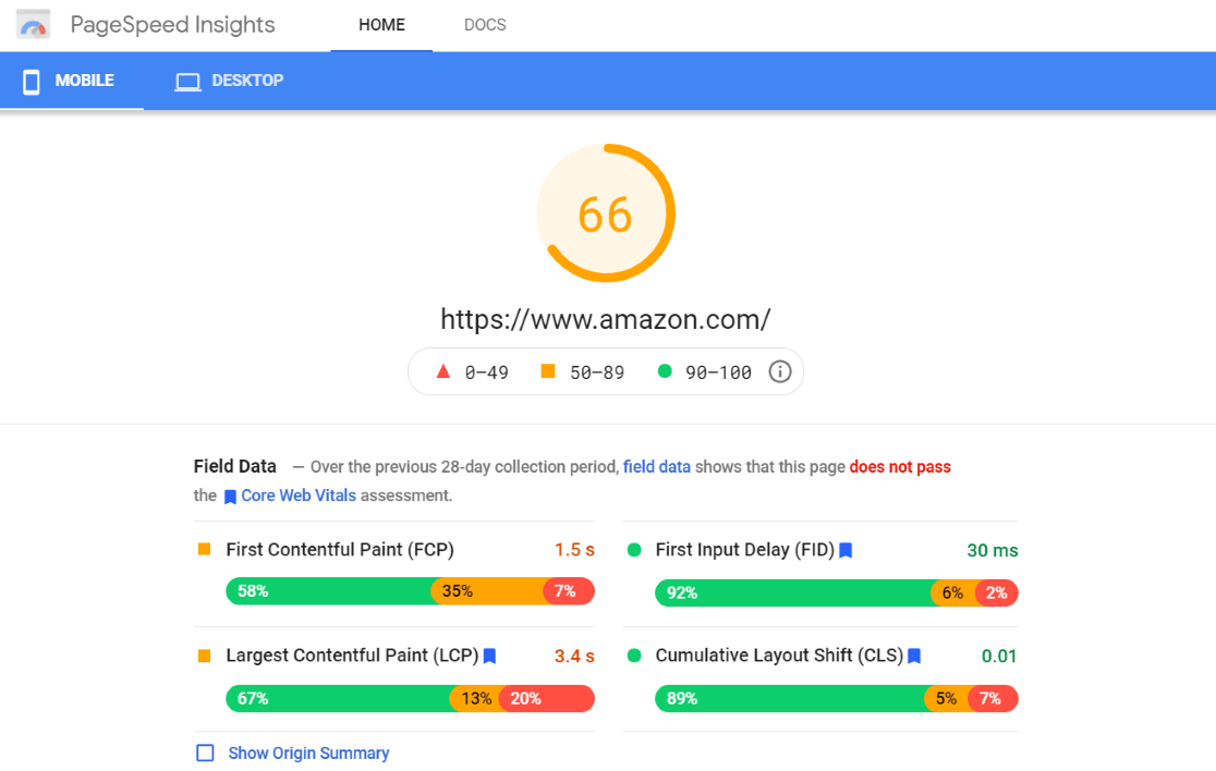 PageSpeed Insights Tool Results