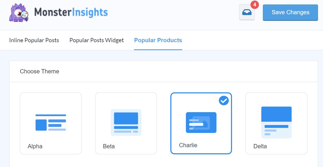 popular products widget in monsterinsights