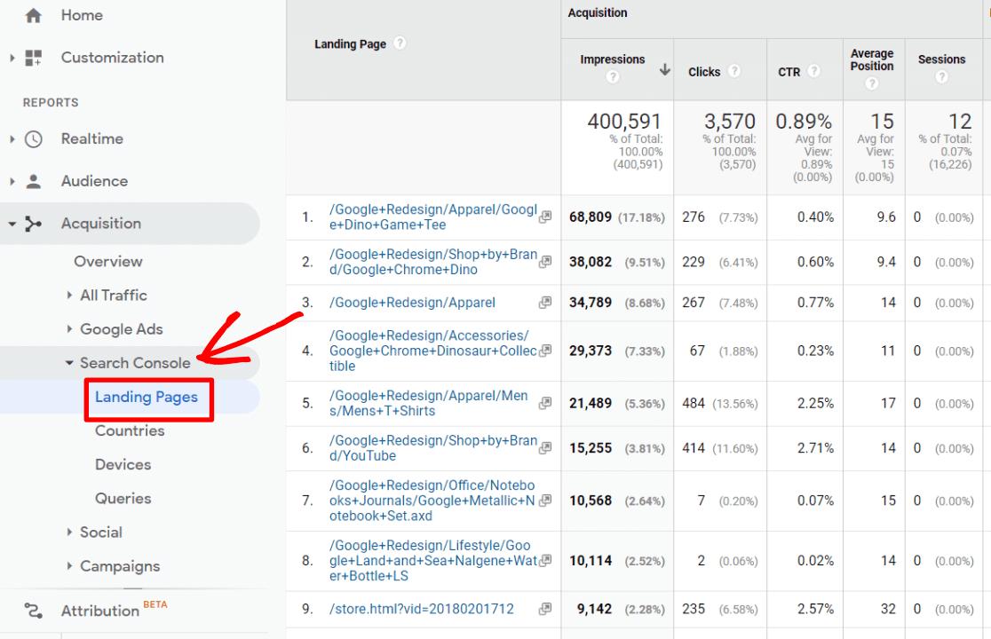 Rapport sur les pages de destination de la Search Console