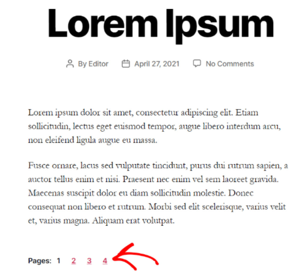 dividir postagens longas em páginas