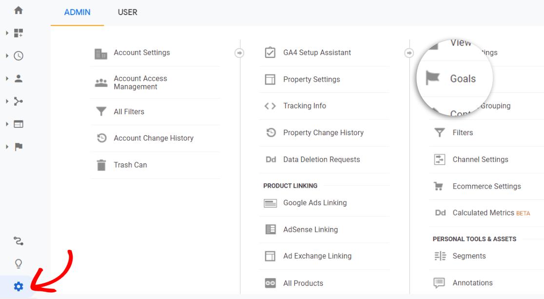 Objectifs dans le panneau d'administration de Google Analytics