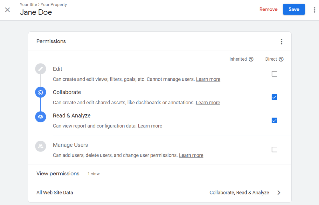 modifier les autorisations des utilisateurs dans Google Analytics