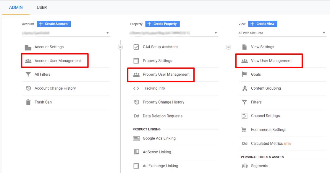 Gestion des utilisateurs de Google Analytics