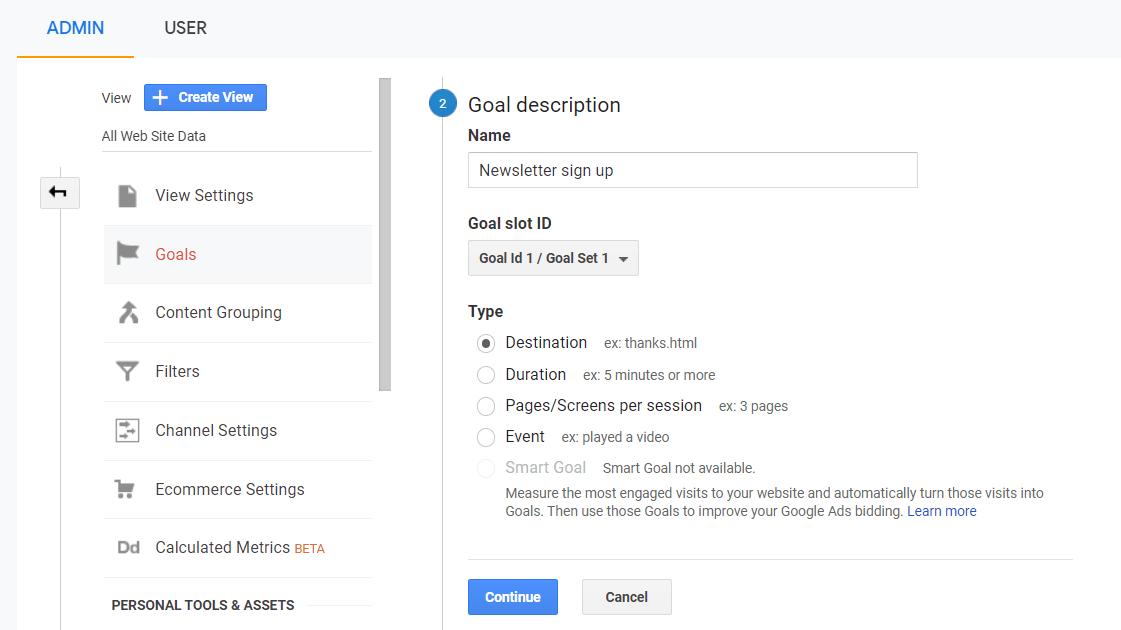 Création d'objectif étape 2 dans Google Analytics
