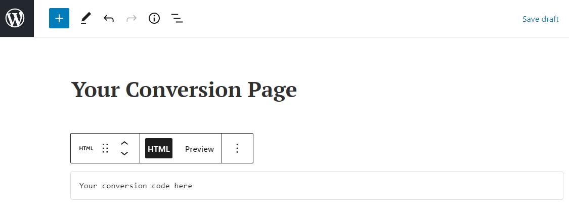 Insert HTML conversion code in WordPress editor