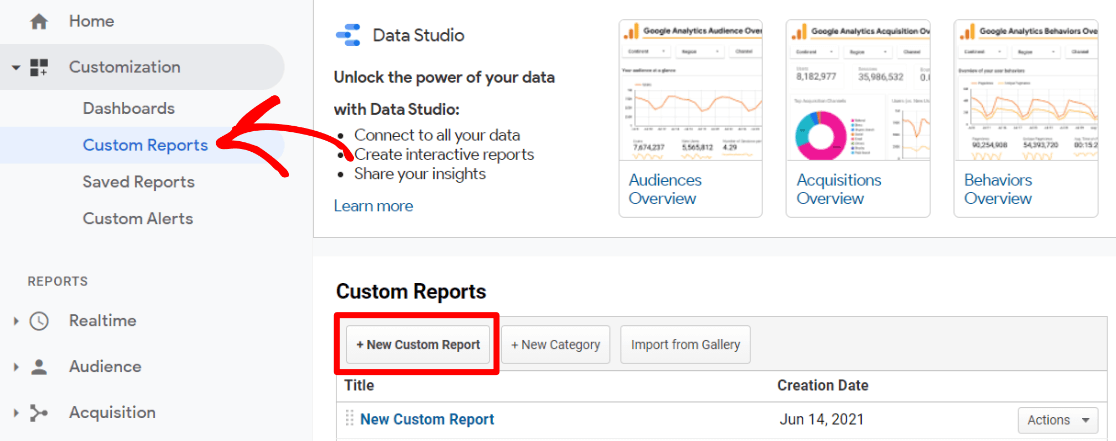 Ajouter un rapport personnalisé dans Google Analytics
