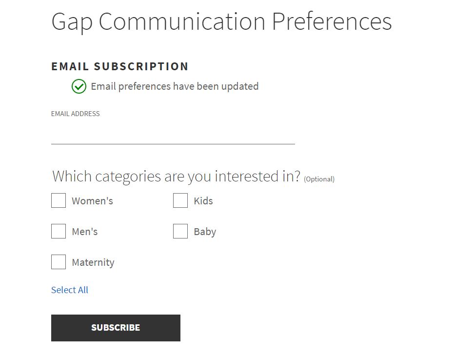 Gap subscriber preferences