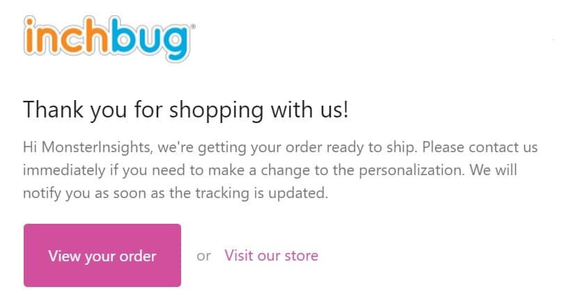 Inchbug labels order confirmation