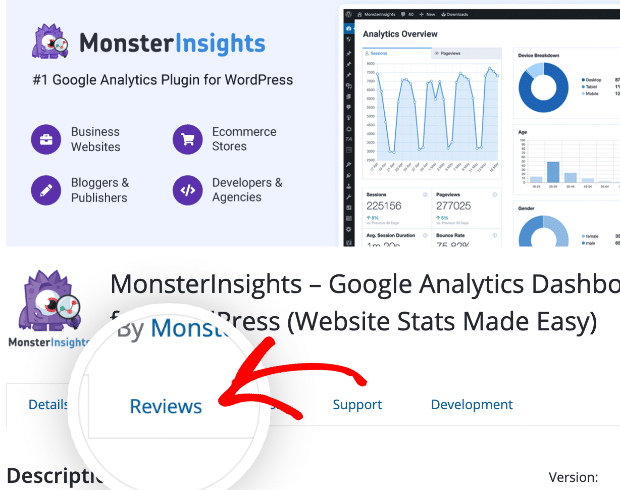 Select the Reviews link from the MonsterInsights plugin screen to leave a review.