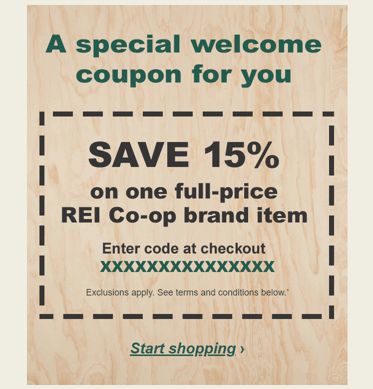 REI welcome coupon