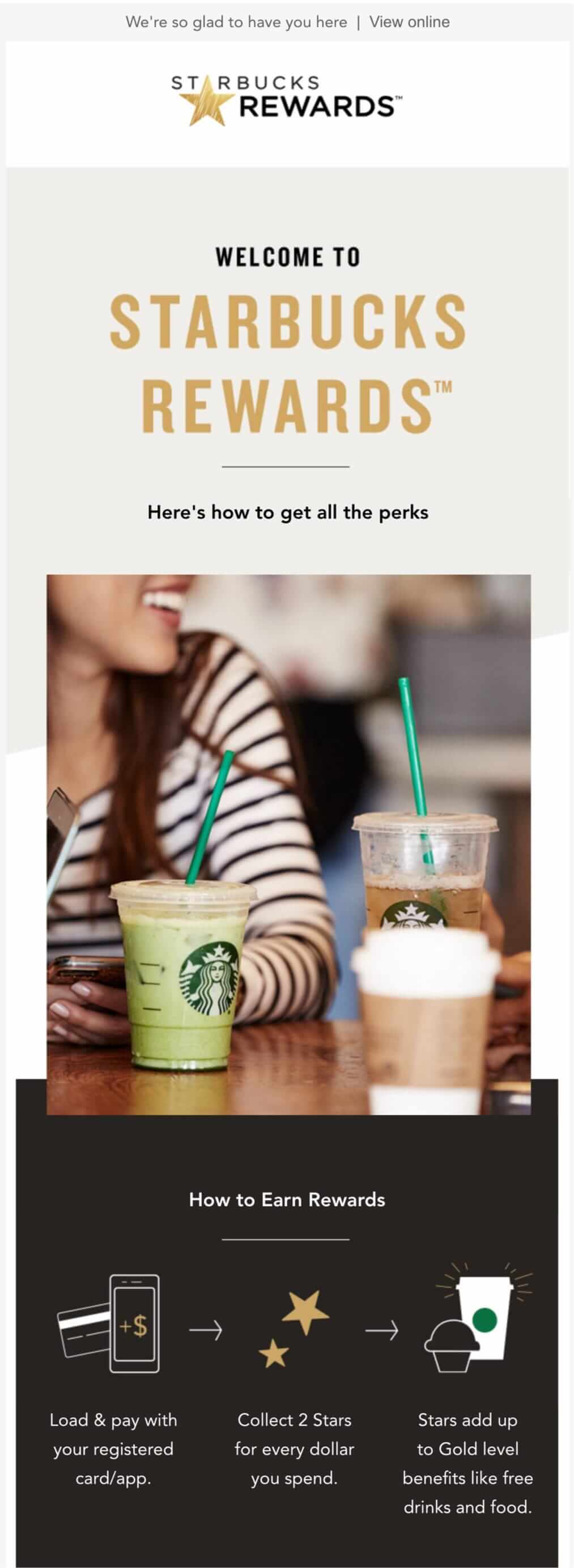 Starbucks welcome email