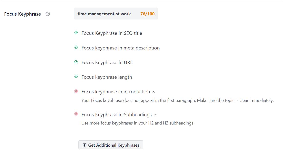 Focus Keyphrase example