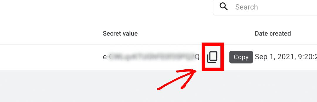 GA4 copy secret value