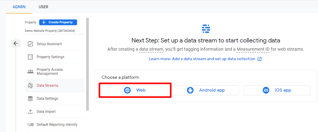 GA4 create a data stream