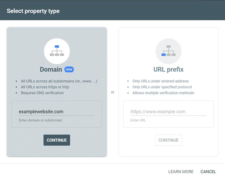 Enter a domain to begin search console verification