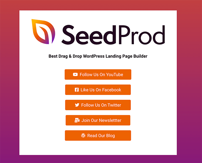 SeedProd Link in Bio Page