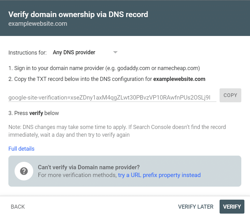 Verify search console with DNS